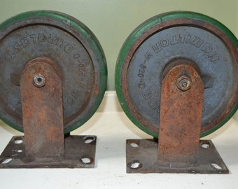Vintage Industrial Hamilton Cast Iron Casters Wheel - Factory