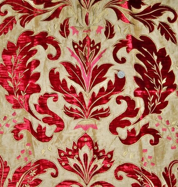 Opulent opera damask velvet embroidered applique on silk linen
