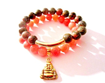 Jade Bracelet Set. Heart Chakra. Buddha Statue. Calming Bracelet. Jade Beaded Bracelet. Stackable Bracelets. Yoga Bracelet. Energy Bracelet.