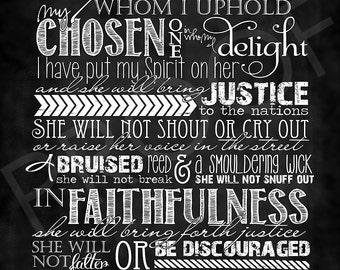 Scripture Art - Isaiah 42:1-4 Chalkboard Style