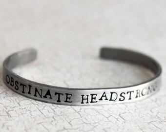 Obstinate Headstrong Girl Bracelet, Jane Austin Jewelry, Price and Prejudice, Book Lover, Bibliophile Classic Novel Stacking Bracelet