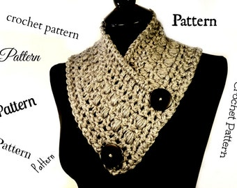 Crochet Scarf Pattern, Crochet Neckwarmer, Scarf Pattern, Button Scarf, Crochet Scarf, Scarf With Buttons, Crochet Cowl Pattern, #114