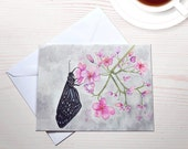 Butterfly Watercolor notecard reprint eco friendly blank card with envelope