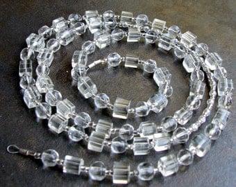 Clear Beaded Eyeglass Chain - Reading Eye Glasses Chain - Id Lanyard - ID Badge Lanyard - Glasses Lanyard - Name Holder Round Rectangular