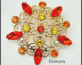 Emmons Orange and Yellow Rhinestone Flower  Brooch