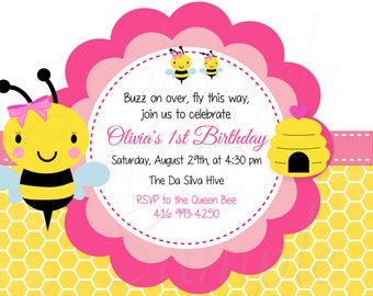 Girls Bumble Bee First Birthday Party Invitation - Printable FILE