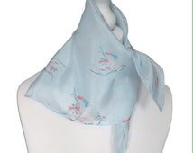 Original Silk Neck Scarf, Neckerchief, light blue , Floral Scarf Square Silk Neck scarf with cherry blossom design - one of a kind