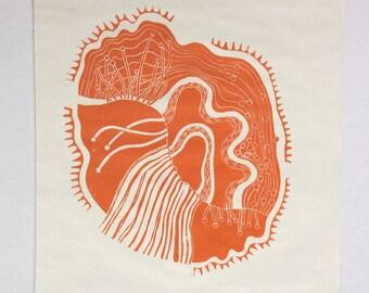 linocut - DRIFTLESS DREAM, orange - 12x12 / printmaking / block print / contemporary / nature art
