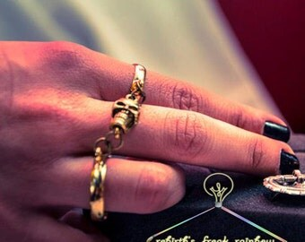 Hand-made duoble ring Skull and chains