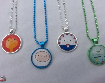 Adventure Time Finn Flame Princess Peppermint Butler BMO Glass Pendant Necklace