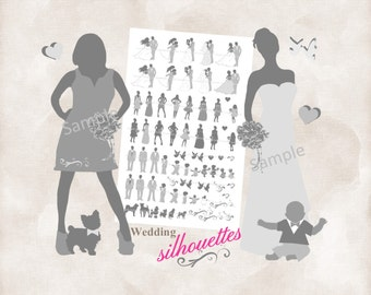 Silhouette wedding bridal party 75 Silhouettes INSTANT DOWNLOAD shades of grey for DIY invitations and programs  clip art