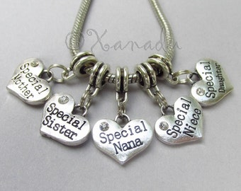 Special Family European Heart Charm Pendant For Large Hole Charm Bracelets - Niece, Grandma, Nana, Mother, Sister, Daughter
