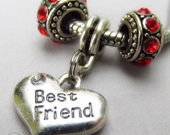 Best Friend European Charm Pendant And Birthstone Spacer Beads For All Large Hole Charm Bracelets