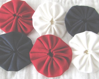 yo yos 30 1 1/2  inch red white and blue solid fabric