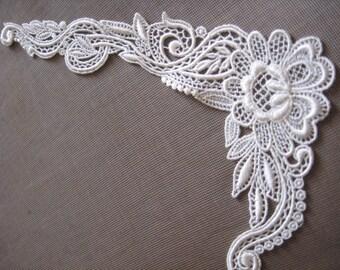 Ivory Applique, Bridal Applique, Bridal Supply, Bridal Applique, Wedding Dress Lace  G32-478
