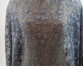 Charcoal Tulle Sequin Lace, Grey Lace, Charcoal Lace, Embroidered Lace, Bridal Dress Fabric French Lace , E3-023