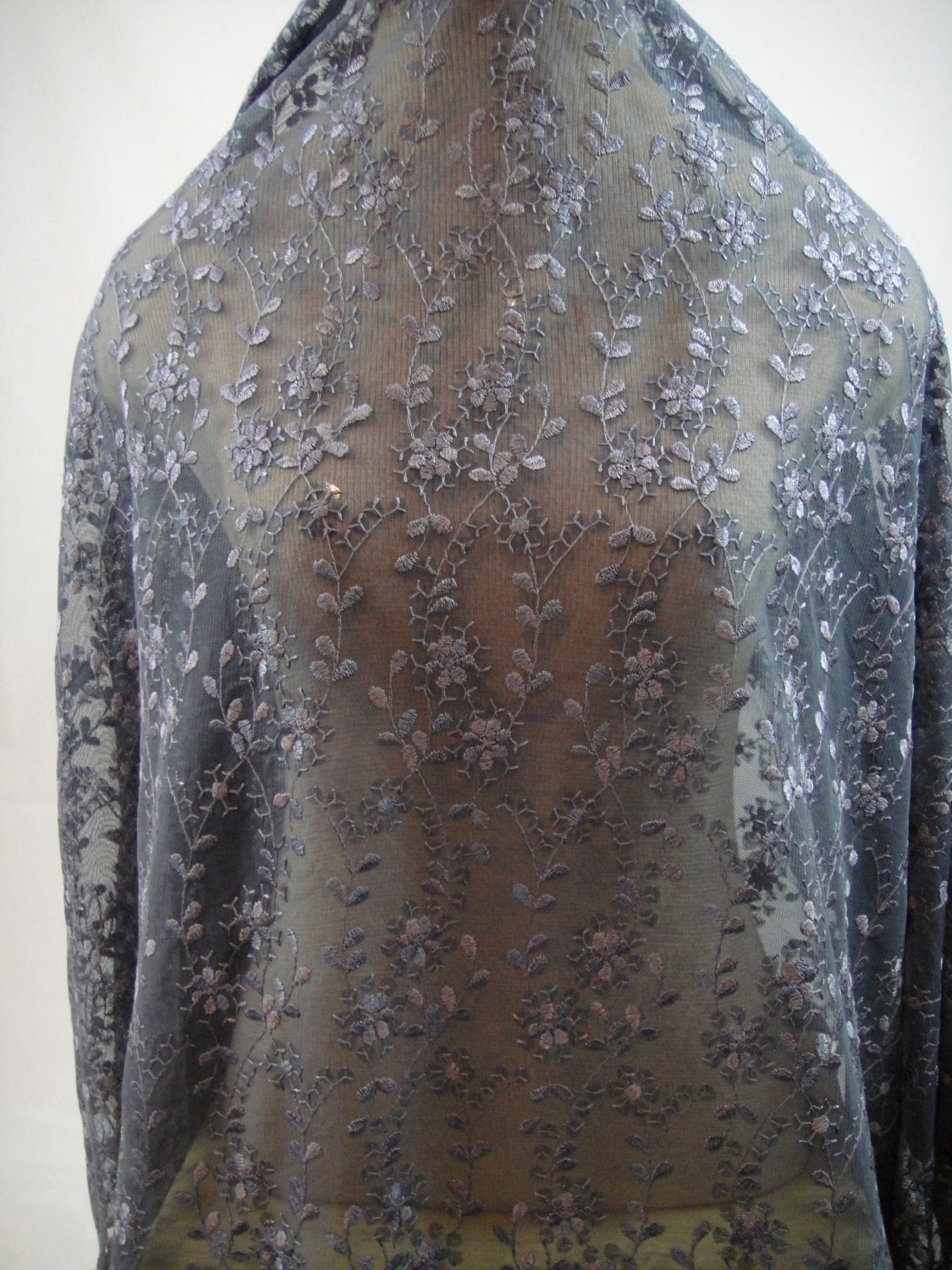 Charcoal Tulle Sequin Lace Grey Lace Charcoal Lace