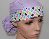 Ponytail Surgical Scrub Hat.  Lilac with a Checkered Band