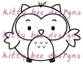 """Kawaii """"Hug Me"""" Owl Digi Stamp"""