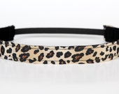 "Cheetah No Slip Headband 1"", Workout Headband, Fitness Headband, Dance Headband, Cheer Headband, Leopard Print, Gifts Under 5"