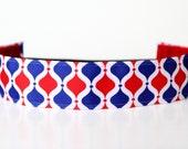 "Red, White & Blue Lattice NonSlip Headband 1.5"" 4th of July, Patriotic, USA"