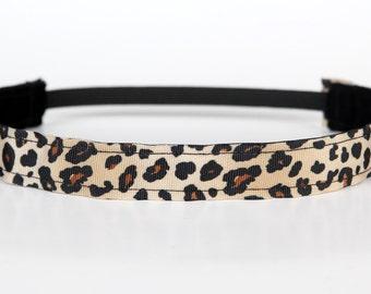 "Cheetah No Slip Headband 1"", Workout Headband, Fitness Headband, Dance Headband, Cheer Headband, Leopard Print, Gifts Under 5"
