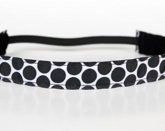 """Black and White Dot Nonslip Headband 1"""", Running Headband, Stocking Stuffer, Spinning Headband, Workout Headband, Fitness Accessory, Cheer"""
