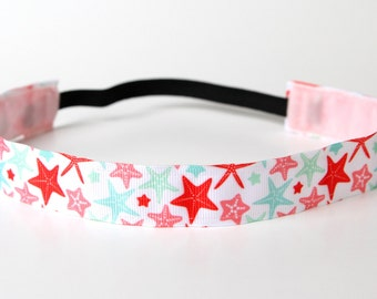 "Pastel Starfish Nonslip Headband 1"" Resort Wear, Nautical"