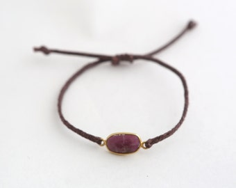 Waxed Cord Bracelet with Stone Bezel Connector