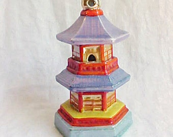 Vintage Japan Luster Temple Incense Burner - 2 Part Tall Figural Porcelain Tower - Oriental Fairy Garden House - Fish Tank Decor