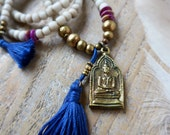 Buddha yoga necklace - yoga jewelry - bohemian tassel necklace - spiritual jewelry - gift for her
