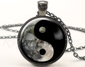 Moon Yin Yang Necklace, Soft Grunge Galaxy Pendant, Indie Hipster Nebula Necklace (1986G1IN)