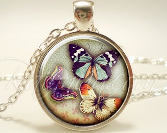 Bohemian Butterfly Necklace, Insect Nature Jewelry, Gypsy Pendant (1960S1IN)