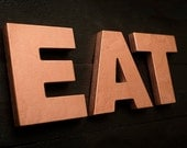 EAT wooden letters copper vintage decorative sign kitchen decor for wall