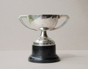Vintage silver plated trophy cup Trophy Sports trophy cup Vintage silver trophy Vintage home decor