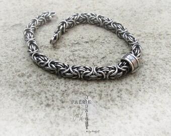 Sterling Silver Byzantine Bracelet soldered links with handmade Bead (MB2)