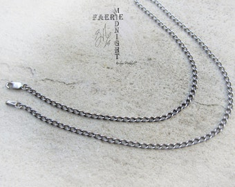 Sterling Silver Chain/Necklace with Antique finish - Long Curb chain (LC80)