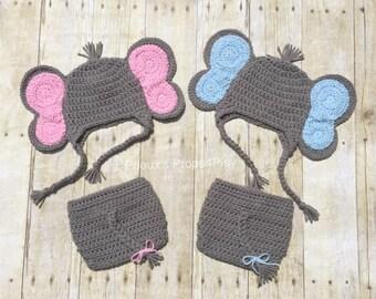 Crochet Photo Prop, Elephant Costume, Costume for Twins, Newborn Costume, Newborn Outfit, Baby Shower Gift, Photo Prop, Elephant Baby Shower