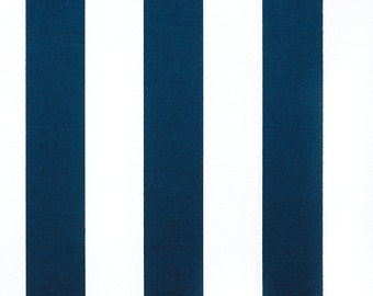 LAST Yard OUTDOOR Oxford Blue White Vertical Stripes -  Premier Prints -  Home Decor Indoor / Outdoor Fabric - 1 Yard