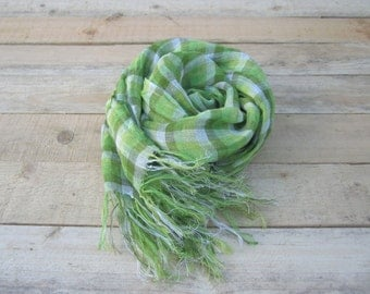 Green checkered  linen scarf, scarf with knot fringe, linen scarves, scarf linen, linen shawl, pure linen scarf, women scarf, men scarf