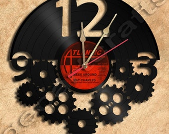 Wall Clock Gears Vinyl Record Clock Upcycled Gift Idea