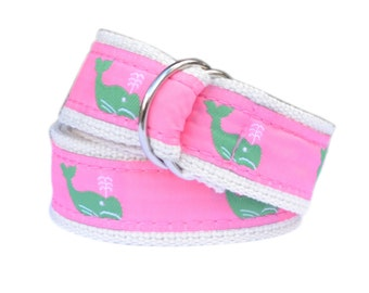 Bean Belts Girls Preppy Whale Belt- For Babies, Toddlers & Kids - Fully Adjustable
