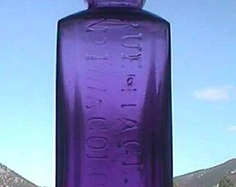 Deep purple original antique No 4711 COLOGNE bottle Eau De COLOGNE - Ornate Hand Blown 1800's antique