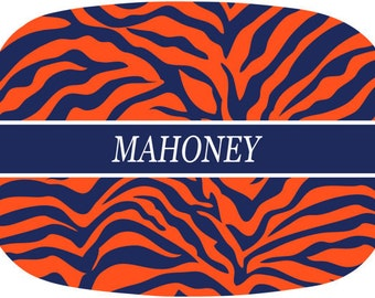 Personalized Melamine Serving Tray Monogrammed Tiger Stripe Platter Orange Navy Tailgating Table Dishes