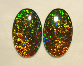 Synthetic Loose Triplet Opal Stones Matched pair 25x15 mm Oval . item 80632.