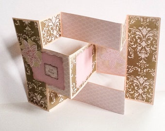 Stampin Up Hand made cards: Handmade Trifold gate card - Best wishes - Pink - Pastel - Brown - Fancy - Dimensional card - Wcards