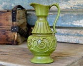 Royal Haeger Fern Agate Pitcher Vase in Avocado Green - Retro Art Pottery, Flourish Details, Stylized Handle - Vintage Home Decor