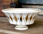 Italian Pottery Pedestal Compote Fruit Bowl - Mid Century Italy, Artisan Handmade Earthenware - Bitossi Raymor Era - Vintage Home Decor