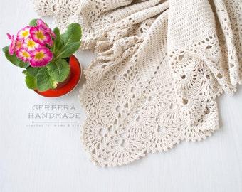 ECRU Baby blanket / Crochet baby blanket/ Baby blanket/ Cotton blanket/ Christening Baby blanket/ Baby wrap blanket/ throw blanket ivory