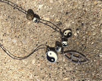 Yin and Yang Charm Necklace 90s Black and White Boho 90s Dice Cubes Medalion